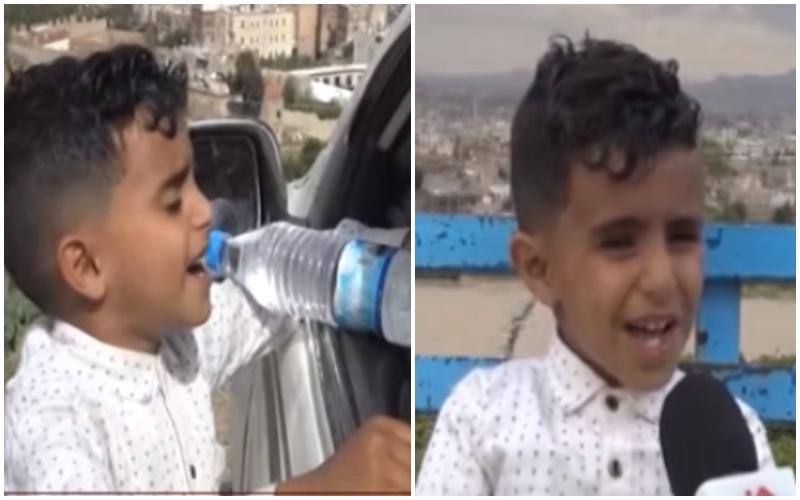 """بالفيديو/ """"بائع الماء"""" الصغير أحمد الذي لم توقفه الحرب ولا الفقر عن الغناء والحلم..""""أبيع الماء لأصرف على أمي واخوتي بعد انتهاء دروسي وأحلم بالشهرة""""!"""