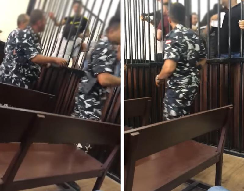 بالفيديو/ أراد السجين الدخول إلى المرحاض فاشتعلت المحكمة وتعالى الصراخ!