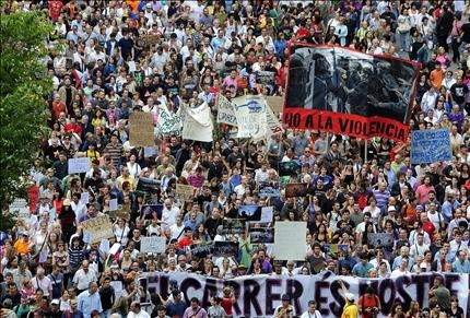 عشرات آلاف المتظاهرين في شوارع إسبانيا