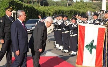 عباس: الفلسطيني يحميه الشعب اللبناني ولا نريد السلاح سليمان: لبنان سيدعم فلسطين للفوز بعضويتها الكاملة في الأمم المتحدة