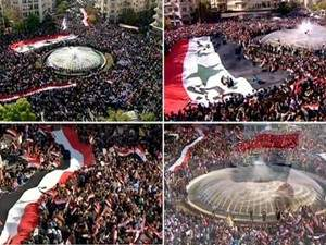 الملايين من السوريين يحتشدون في الساحات العامة بالمحافظات استنكاراً ورفضاً لقرار الجامعة العربية