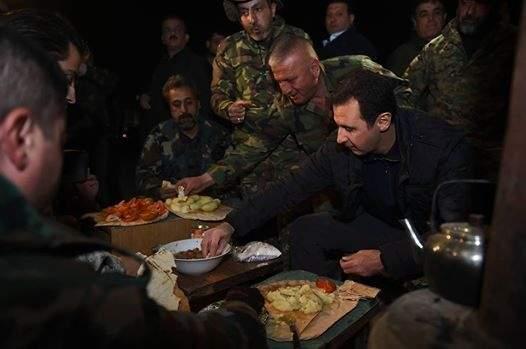 بالفيديو / وقائع زيارة الرئيس السوري بشار الاسد لجنوده في منطقة جوبر