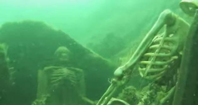 بالفيديو: اكتشاف هيكلين عظميين يحتسيان الشاي في قاع بحيرة