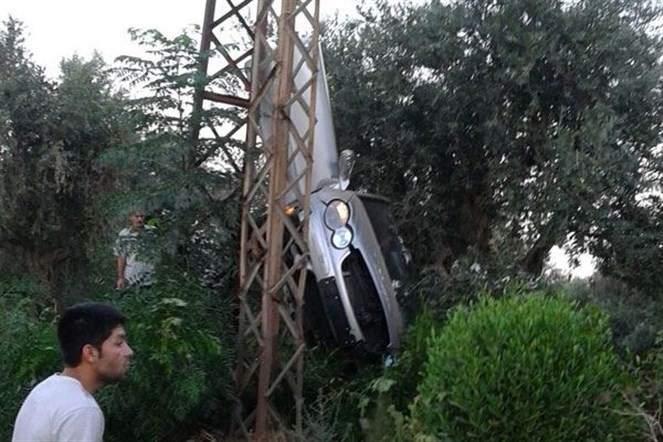 بالصور.. حادث سير ينتهي باستقرار سيارة على أغصان شجرة زيتون!