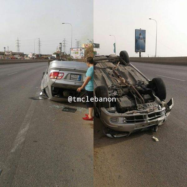 3 جرحى نتيجة انقلاب سيارة على اوتوستراد الجية باتجاه بيروت