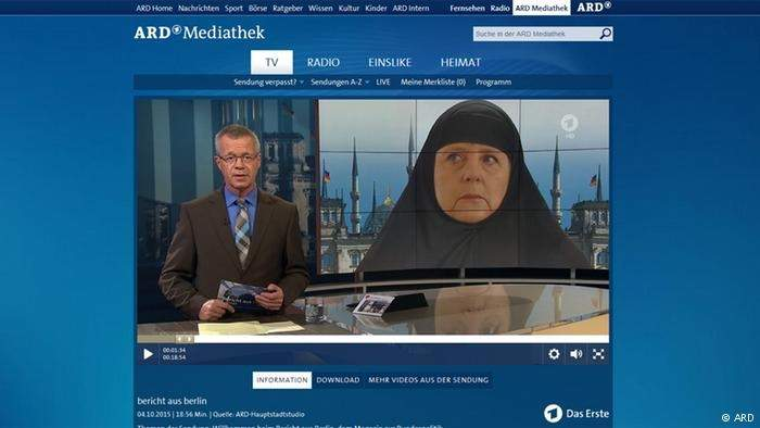 صورة لميركل بالحجاب على التلفزيون الألماني تثير جدلاً واسعاً