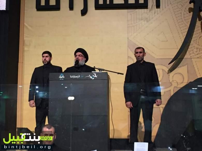 لقطات مصورة مباشرة من احياء المجلس العاشورائي في مجمع سيد الشهداء حيث اطل السيد نصر الله شخصياً