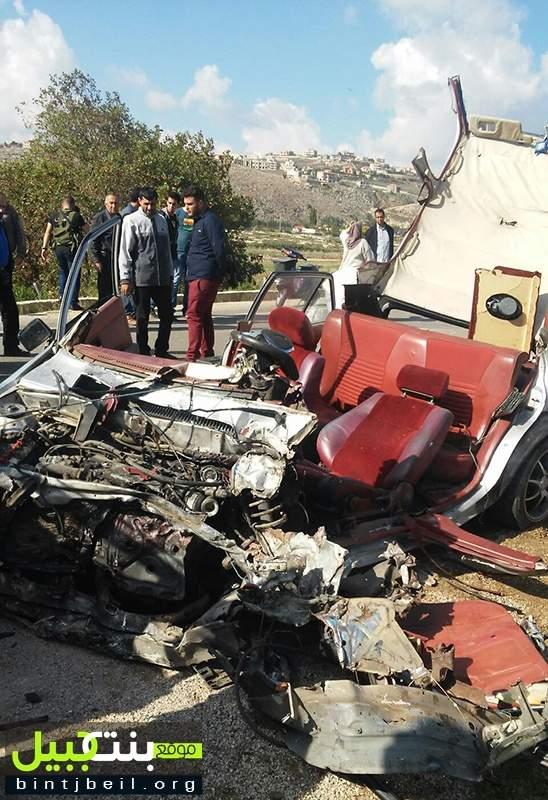 مقتل مجند في الجيش وجرح مواطنين في حادث سير مروع على طريق العيشية-النبطية