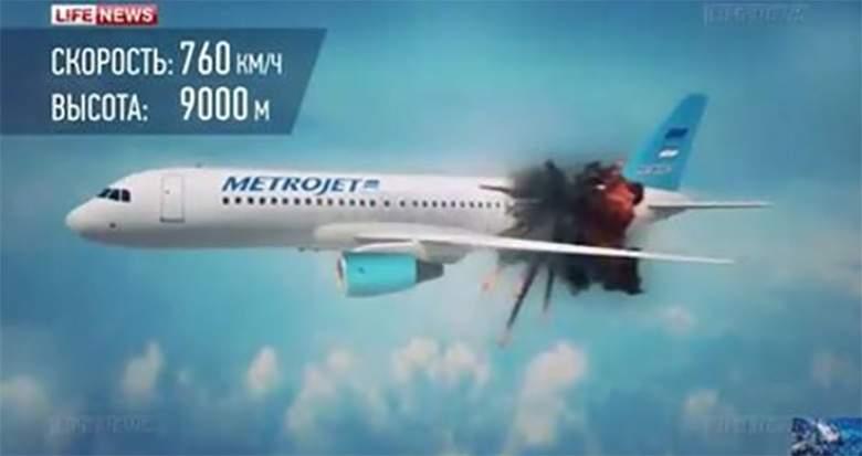 قناة روسية تنشر «فيديو توضيحي» لانفجار «طائرة سيناء» في الجو
