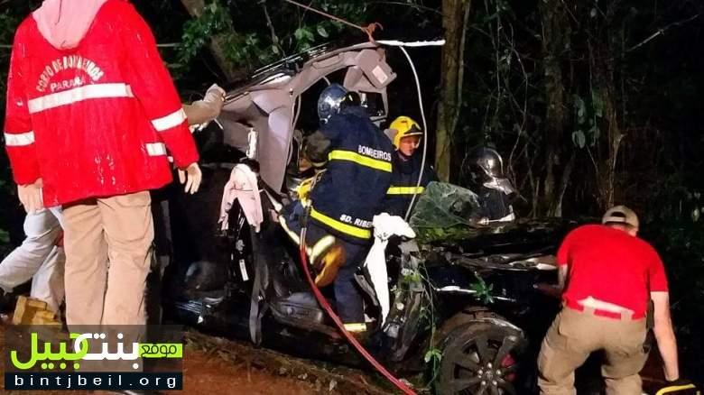 بالصور / حادث انقلاب مروع في البرازيل يصيب 4 لبنانيين