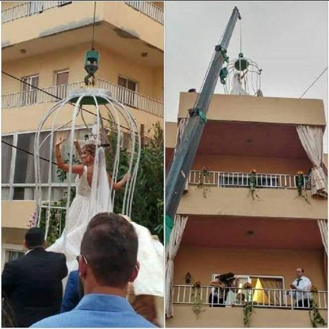 "بالصور - فقط في لبنان.. عروس تستعين بـ ""ونش""!!"