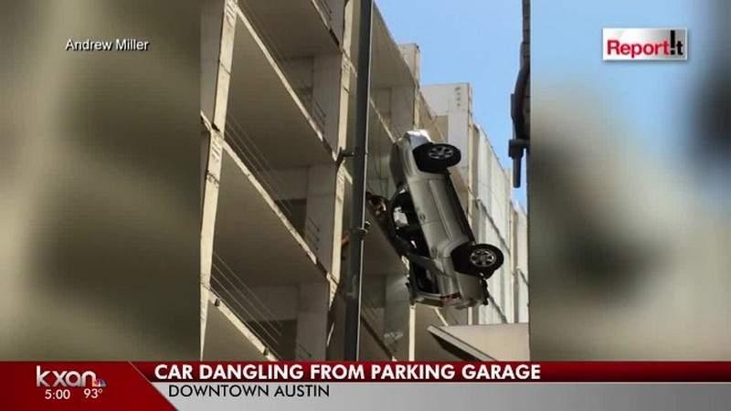 بالفيديو.. سلك واحد ينقذ سائق سيارة هوت من الطابق التاسع