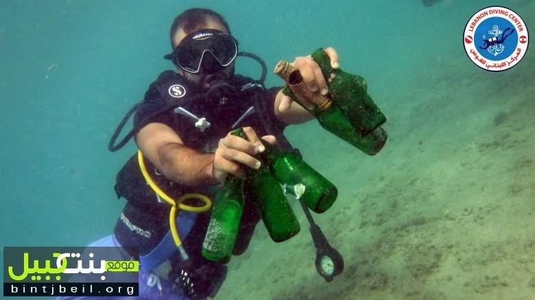 بلدية صور والمركز اللبناني للغوص ينظفان بحر صور!