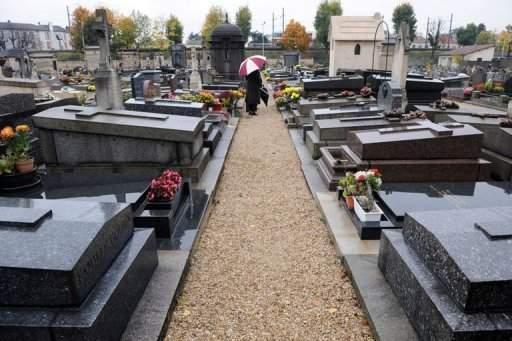 تكليف ضريبي موجه الى سيدة فرنسية متوفاة مع تحديد عنوان سكنها في مقبرة المدينة