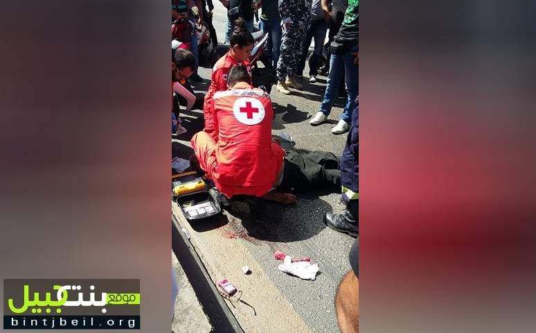 إصابة مواطن نتيجة حادث صدم على نفق سليم سلام