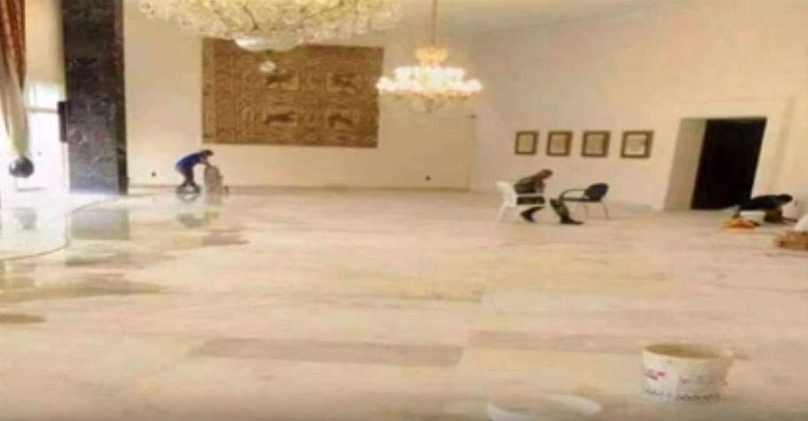 """بالفيديو: أعمال صيانة وطلاء و تلميع في القصر.. والسيارة المصفحة """"حميت""""؟"""
