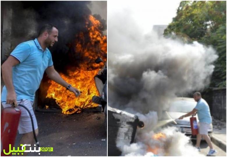 """أراد إيصال وجعه بطريقة حضارية...أحد المتظاهرين أمس أطفأ النيران تحت جسر الرينغ """"أنا من الناس الموجوعة...بس ما بقبل حدا يولع البلد"""""""
