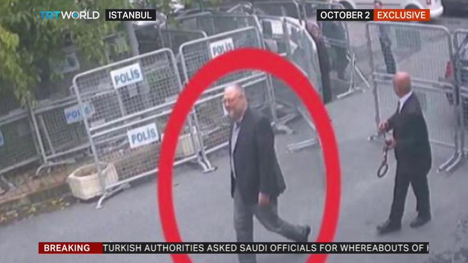 بالفيديو/ ودع خطيبته وخضع للتفتيش... اللحظات الأخيرة لخاشقجي أمام القنصلية