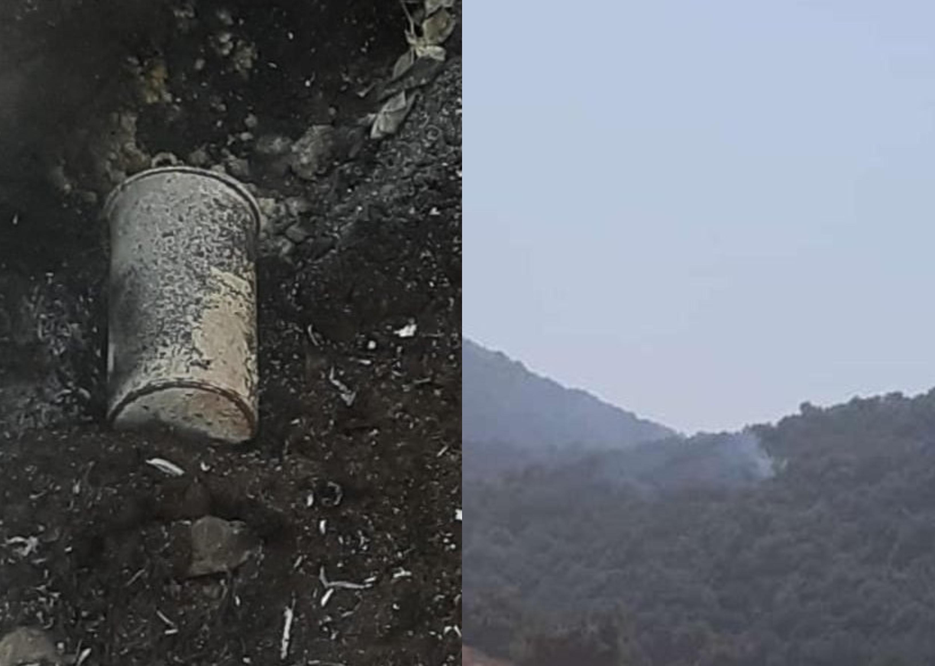 بالصور والفيديو/ هذه هي  القنابل الحارقة التي رمتها طائرة مسيرة في الاحراج اللبنانية في مزرعة بسطره....وأهالي كفرشوبا وحلتا يطفئون النار التي أشعلتها