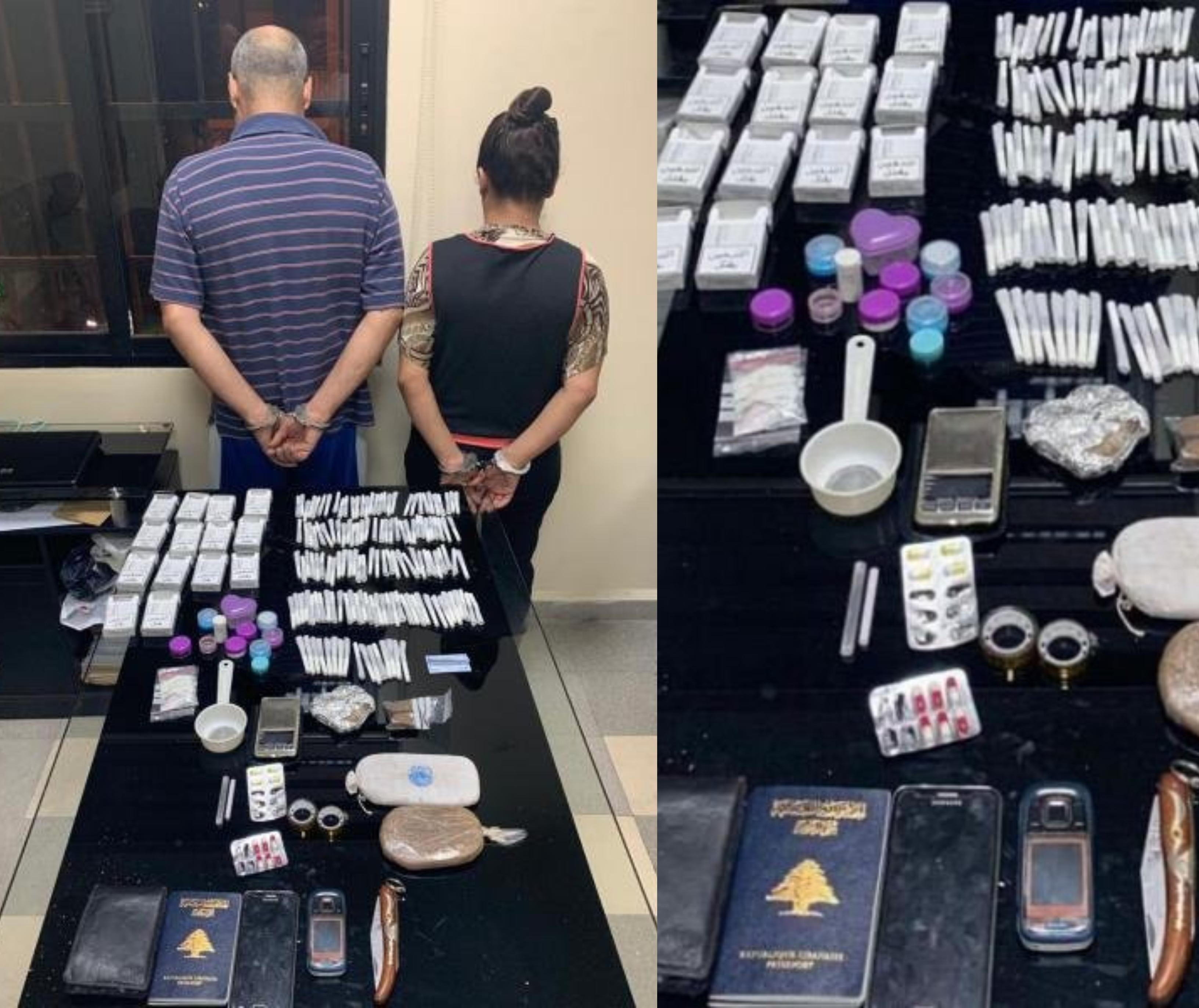 """""""تجار الموت""""...مكتب مكافحة المخدرات يوقف مروجي مخدرات من بينهم رجل وزوجته التي تملك هوية مزورة على انها ابنته !"""