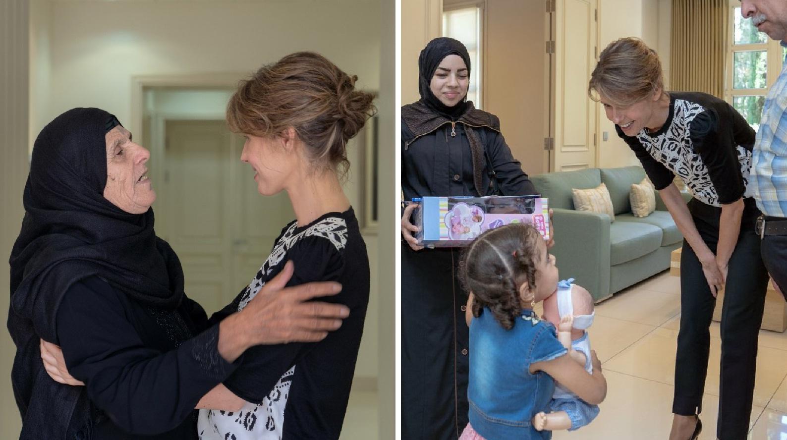 في أول ظهور لها بعد إعلان إصابتها بالسرطان... السيدة أسماء الأسد تستقبل عائلات الشهداء