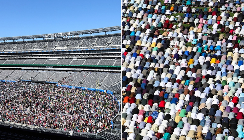 """بالصور/ ملعب """"ميتلايف"""" في نيوجرسي الأميركية يعج بآلاف المصلين الذين أقاموا على أرضه صلاة العيد بعد مفاوضات لـ8 سنوات!"""