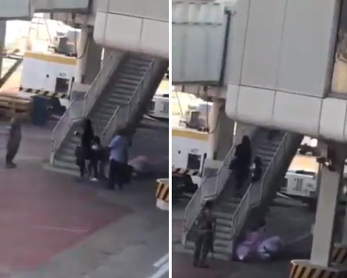 فيديو متداول يظهر أشخاصاً يتوجهون للطائرة بشكل مباشر...وهذا ما أوضحه الأمن العام