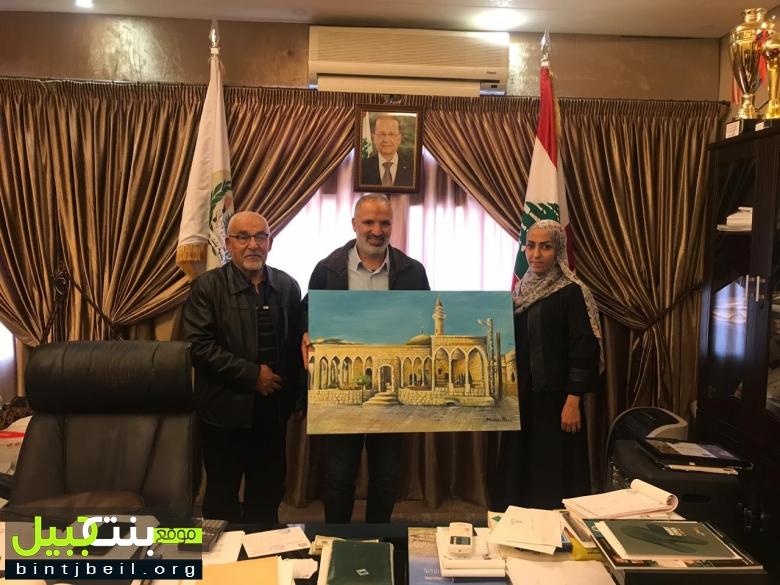 الجامع الكبير في بنت جبيل بريشة الفنانة مروى بزي