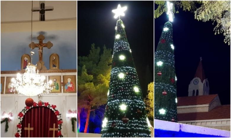 بالصور/ اضاءة شجرة الميلاد في ساحة الكنيسة في تبنين - بنت جبيل