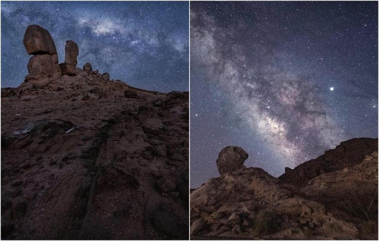 مصور يوثق جمال المجرات فوق قمة هذا الجبل في السعودية بمجموعة صور مبهرة