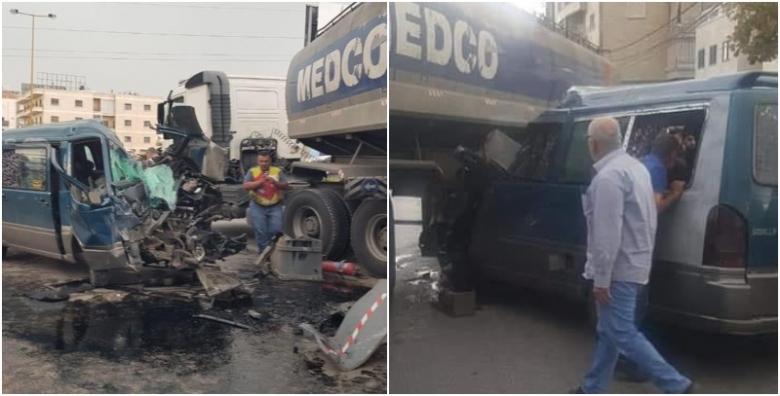 بالصور/ قتيل بحادث سير مروع بين حافلة وشاحنة لنقل المحروقات على اوتوستراد زحلة