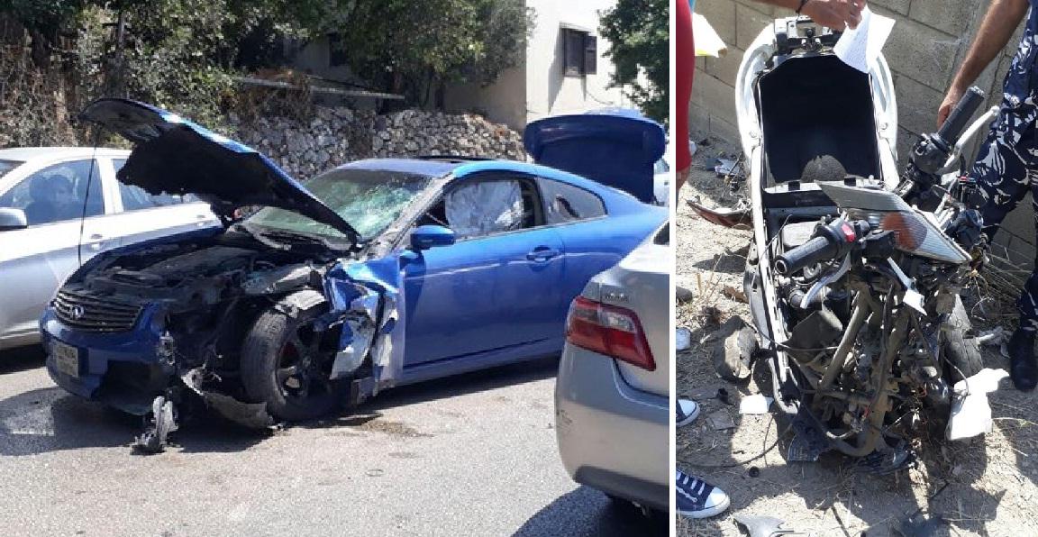 في ذوق مكايل...قتيل نتيجة حادث سير مروع بين مركبة ودراجة نارية