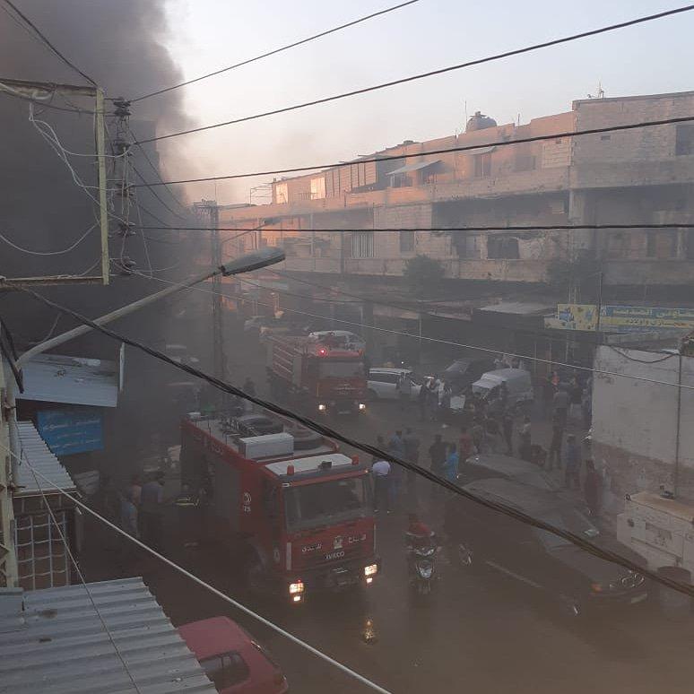 بالصورة/ حريق في المدينة الصناعية الأولى في منطقة صيدا