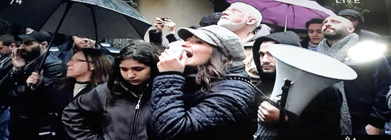 تظاهرة أمام منزل وزير الاتصالات محمد شقير في الحمرا وقد حصل اشكال بين المتظاهرين والقوى الامنية