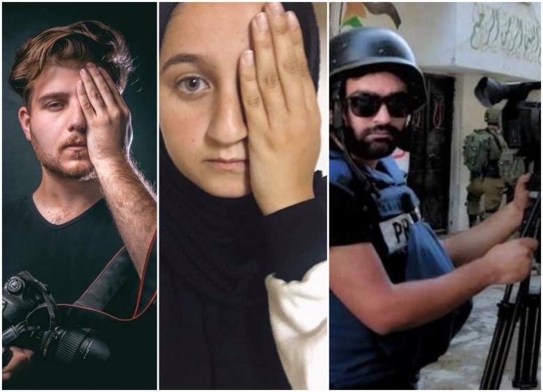 """بالصور/ طلاب وطالبات جامعيون يتضامنون مع الصحافي الفلسطيني """"معاذ العمارنة"""" الذي فقد عينه اليسرى أثناء تغطيته لمواجهات الخليل بعد إصابة مباشرة"""