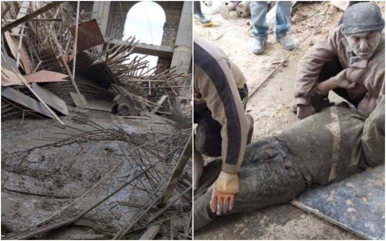 بالصور/ إصابة عاملان إثر سقوط سقف قيد الانشاء في ورشة بناء في بيت ملات أثناء صب الأسمنت