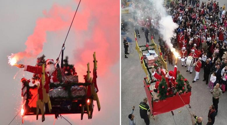 """بالصور والفيديو/ """"بابا نويل"""" على متن عربته الطائرة في سماء الناعمة! الدفاع المدني حققّ حلم أطفال المنطقة للسنة التالية على التوالي"""