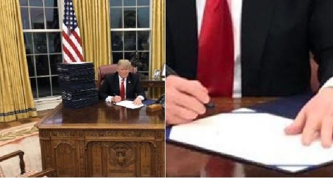 """تعرض للسخرية من جديد... ترامب يغرد: """"أنا وحدي مسكين وأعمل في الإجازة"""" والناشطين يردون """"إنه يوقّع أوراقاً فارغة! """""""
