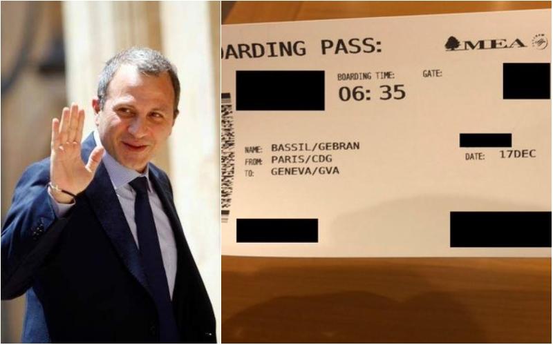 """بعد تغريدة واكيم بأن باسيل """"يدور من مؤتمر الى آخر بالطائرات الخاصة""""..إنتشار صورة لبطاقة صعود باسيل على متن رحلة عادية عبر الـ""""MEA"""" إلى جنيف"""
