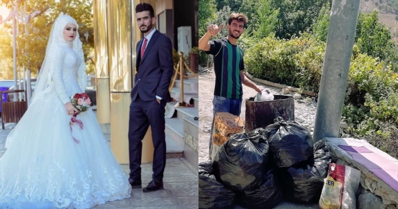 """زوجان عراقيان يحتفلان بذكرى زواجهما بطريقة """"مميزة"""".. أقاما حملة تنظيف لقريتهما!"""