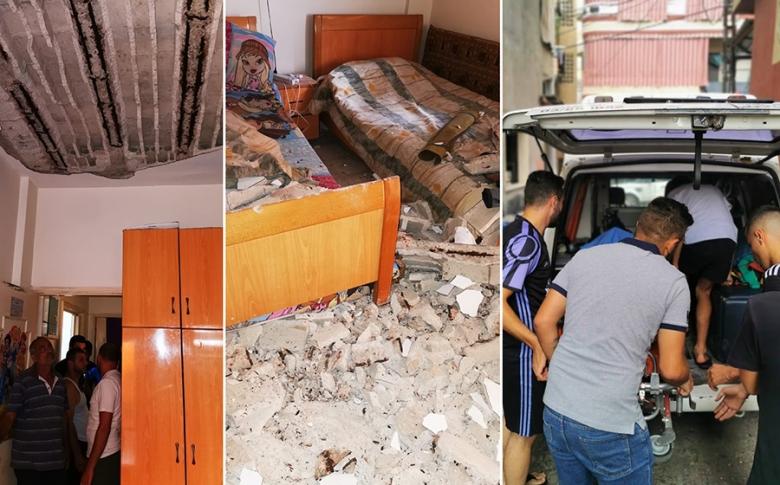 بالصور/ نجاة عائلة بعد انهيار أجزاء من سقف المنزل في البرج الشمالي - صور
