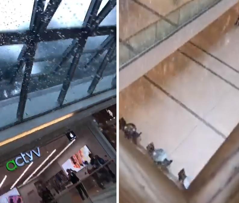 بالفيديو/ الأمطار تتساقط بغزارة إلى داخل المجمع التجاري ABC في فردان!