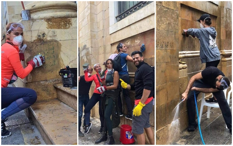 بالصور/ شبان وشابات ينظفون جدران مسجد الأمين  وكنيسة مار جرجس