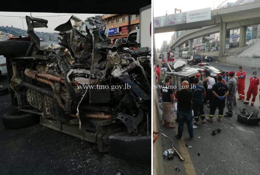 انحرفت بهما السيارة فسقطت وتحطمت بالكامل...الشابة ريتا قزي ضحية الحادث المأساوي صباحاً على جسر يسوع الملك