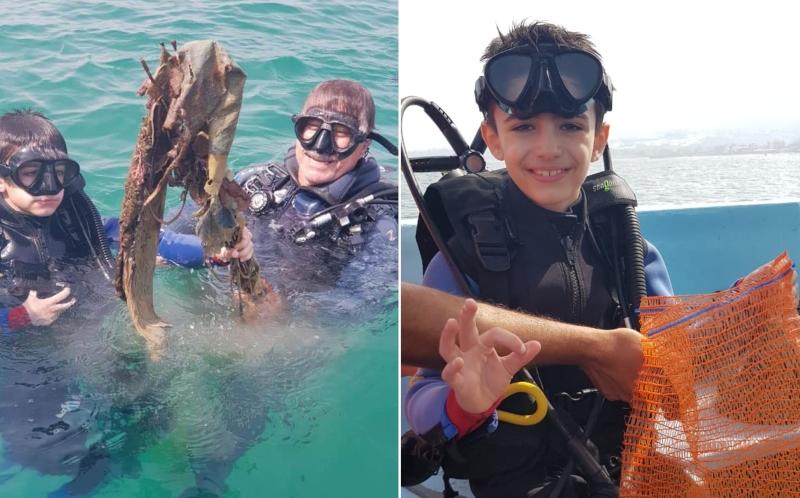 """بالفيديو/ """"ماجد"""" إبن الـ8 سنوات أصغر غطاس يشارك في تنظيف قعر بحر صيدا!"""
