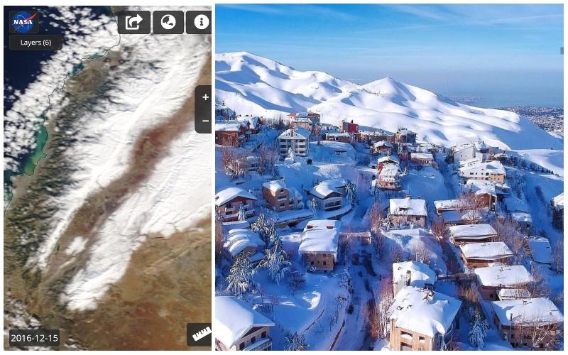 """""""الناسا"""" تنشر صور لذوبان الثلوج السريع عن سفوح لبنان عبر السنوات...وتحذير من التغير المناخي!"""