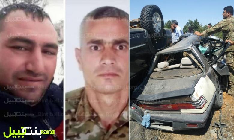 مأساة على الطريق أنهت حياة عسكريين...محمد شلحة وعباس شريف توفيا اثر الحادث المروع على طريق حربتا - البرالية