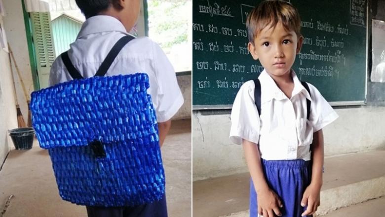 أبٌ لم يستطيع شراء حقيبة جديدة لابنه فصنع له واحدة بمواد بدائية جداً... صورها اجتاحت الإنترنت!