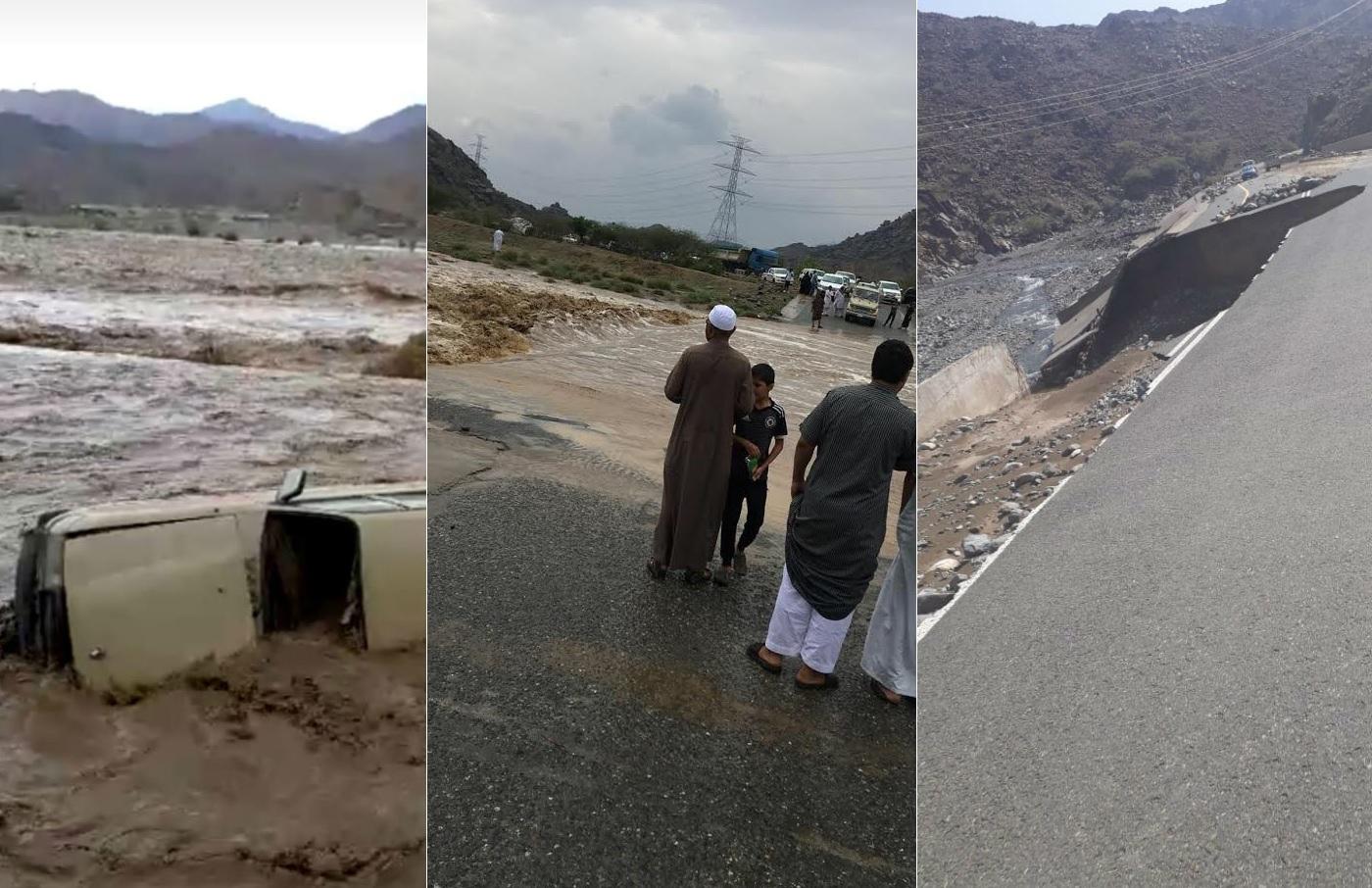 تسببت في وفاة 5 أشخاص... سيول وأمطار غزيرة تعد الأقوى منذ 20 عاماً تغرق السعودية!