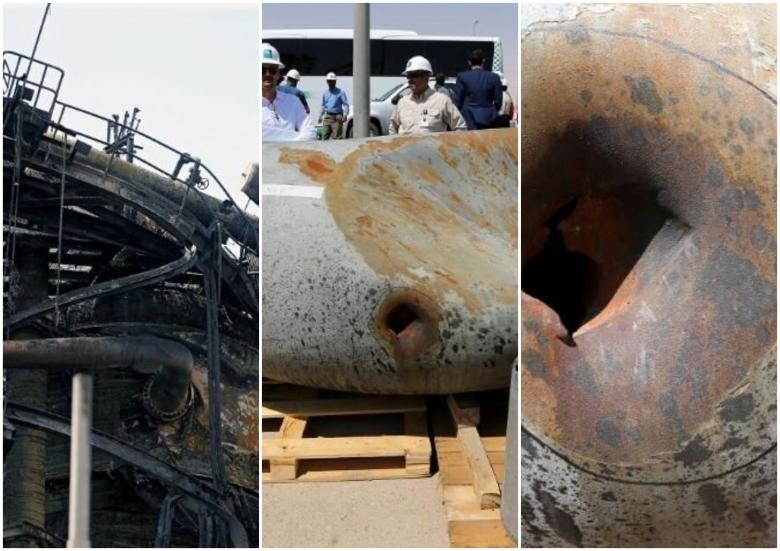 """بالصور/ الرياض تسمح لوسائل الإعلام بتصوير مواقع """"أرامكو"""" التي تعرضت للهجوم...أنابيب نفطية مذابة ومعدات محترقة"""